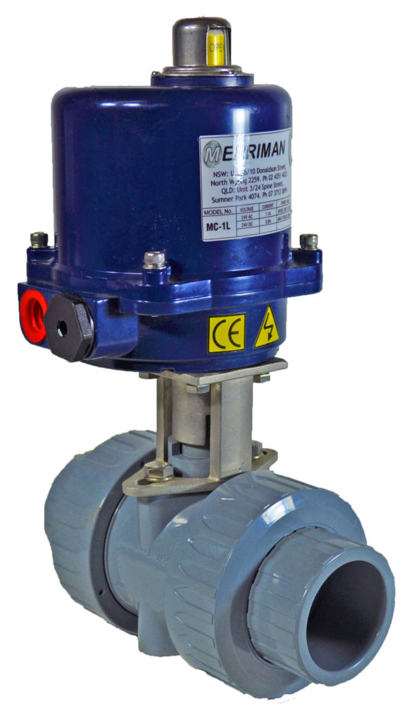 Double union ball valve with electric actuator on stainless steel mount.